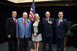 2018 Distinguished Hall of Fame Inductees, John Althans, Alan Hrabak, Linda Henry from Chip Henry, Lt. Col. Kevin Lombardo, Justin Herdman